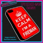 FITS IPHONE 4 / 4S PHONE KEEP CALM IM A  FIREMAN PLASTIC COVER RED